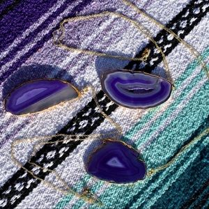 Jewelry - HP🎉 Amethyst Crystal Agate Slice Pendant Necklace